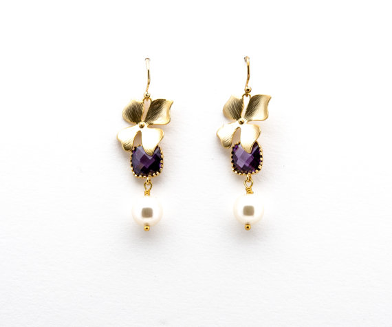 Gold Orchid Earrings with Amethyst Crystal and Pearl, Drop Earrings