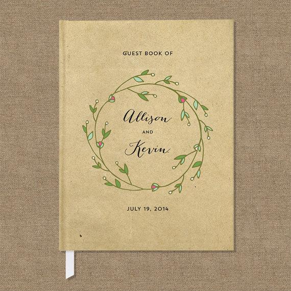 Wedding Guest Book Rustic Wreath