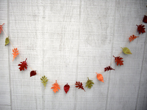 leaf garland, fall garland, 6 ft fall paper leaf garland