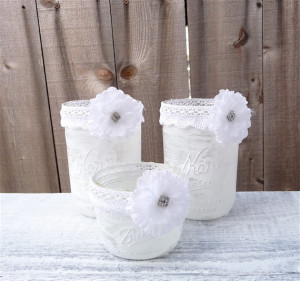 White Wedding SHABBY CHIC Rustic Wedding Mason Jar Candle Holders