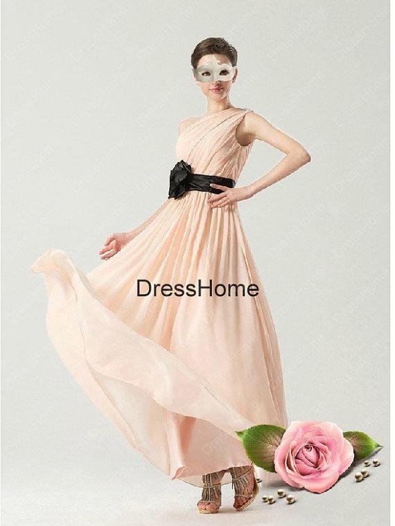 One-shoulder Simple Bridesmaid Dress – Pink Bridesmaid dress