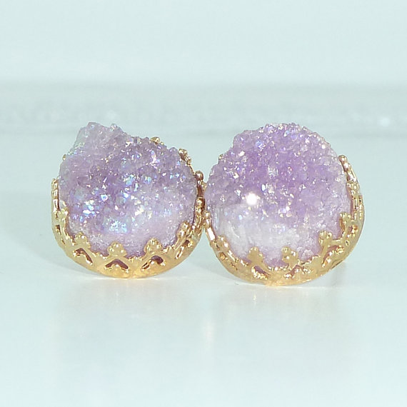 Druzy Stud Earrings, Gift For Her, Purple Lilac Post Earrings, Gemstones Earrings