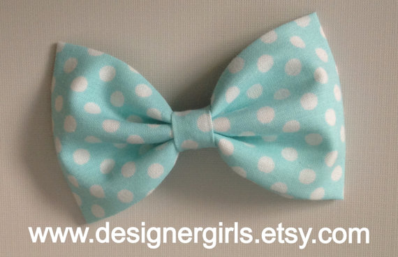 Light Aqua blue and white dot Baby/Toddler Bow tie, Bow tie, Girl hair accessory, bun bow, photography prop, newborn boy accessory