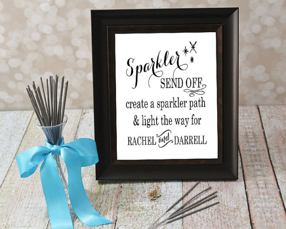 Wedding Sign. DIY Sparkler Send Off with Bride & Groom Names. 5 X 7 or 8 X 10 inches. Reception Card, Custom Typography Art, Printable File.