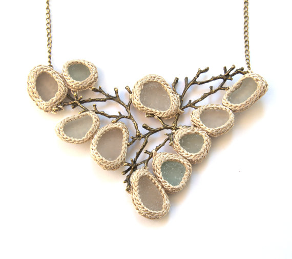 Bib Sea glass necklace ooak bride jewelry collar beige shampagne crochet seaglass bronze tree