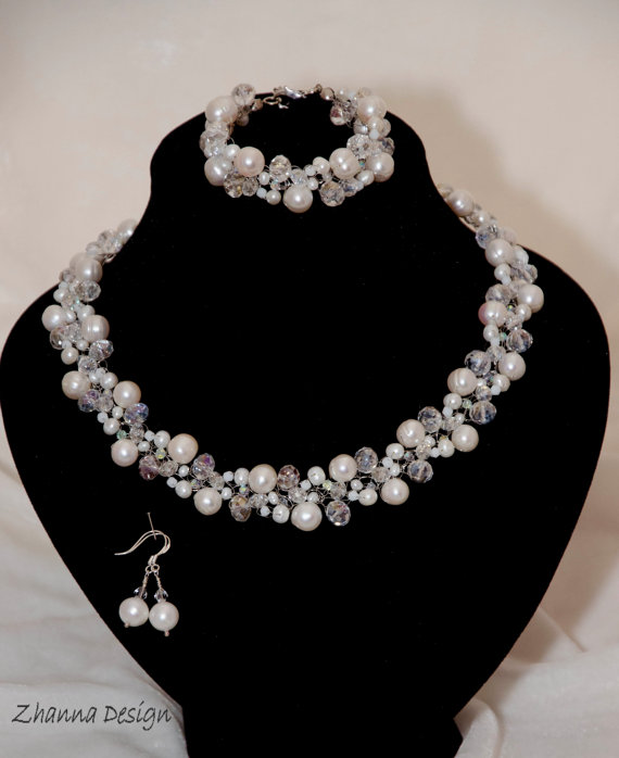 Bridal Crochet Jewelry Set