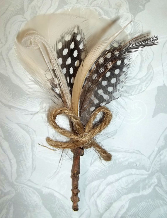 Twigs and Twine Boutonniere, mens wedding accessory, feathers twigs twine