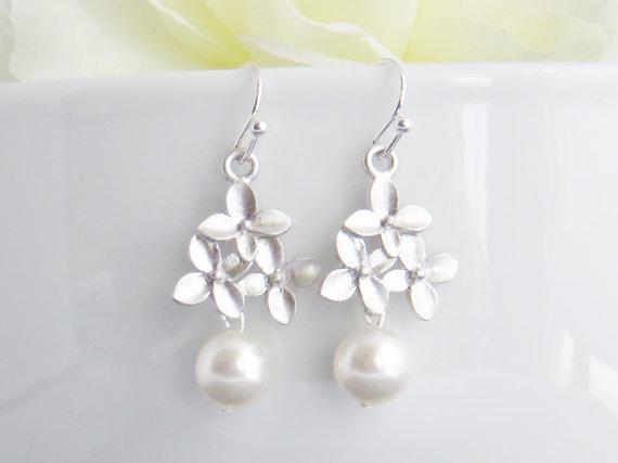 Floral Dangle Earrings, Cherry Blossom Dangle Earrings, Bridesmaid Earrings