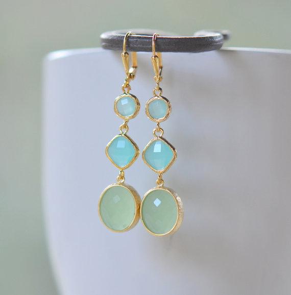 Long Jewel Earrings in Mint, Turquoise and Aqua. Bridesmaid Earrings. Gem Dangle Earrings