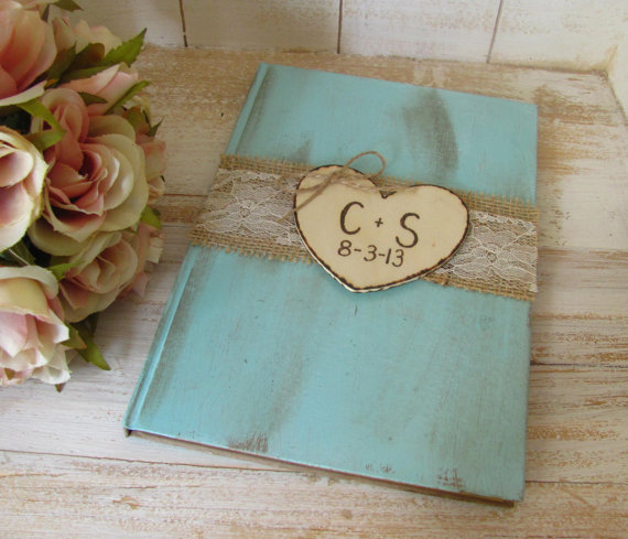 Wedding Guest Book – Bridal Shower Guest Book – Shabby Chic – Personalized