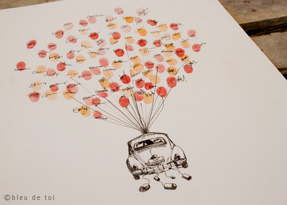 Volkswagen Love Bug Fingerprint Balloon, Original Guest book thumbprint balloon