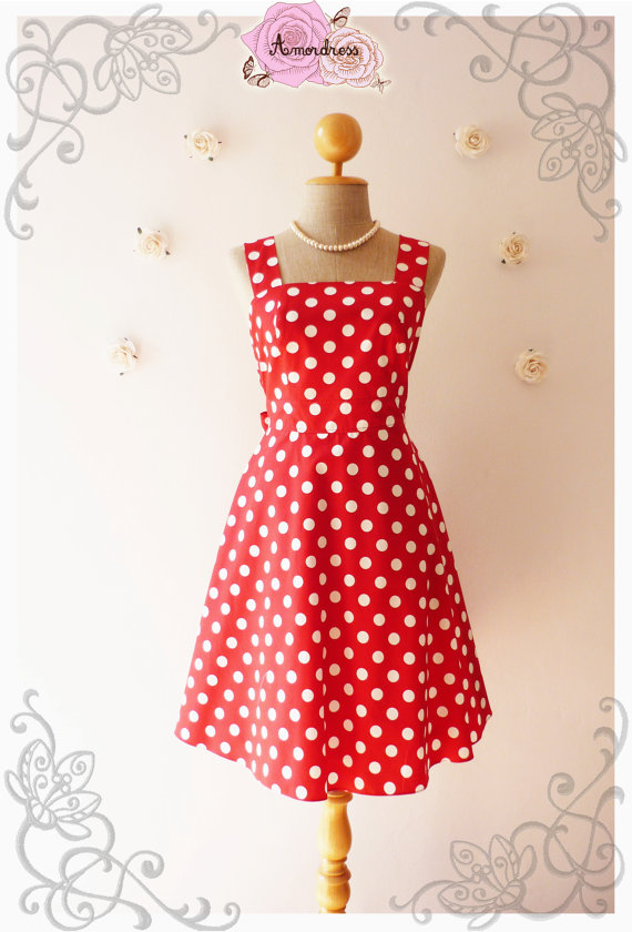 Red Dress Vintage Inspired Dress Red Vintage Bridesmaid Dress Red Party Dress Polka Dot Red Summer Dress