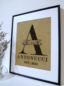 Personalized Wedding Sign on Burlap with Est. Date