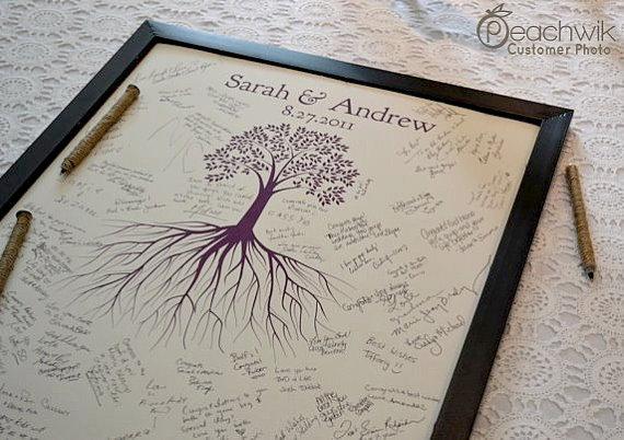 Unique Wedding Guest Book – The Rootwik – A Peachwik Interactive Art Print – Wedding Guestbook Alternative