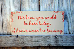 In loving memory of family Wedding Sign We know you would be here today if Heaven weren't so far away