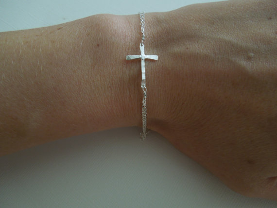 sideways cross bracelet sterling silver handmade jewelry, hammered, bridesmaid, wedding, simple, delicate, dainty, shiny, artisan