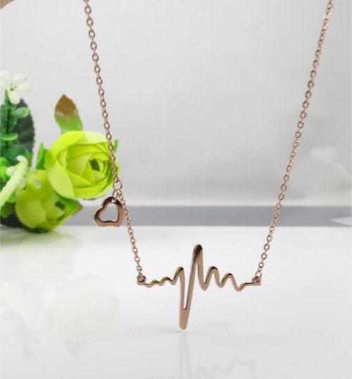 heart beat necklace,heartbeat necklace,heart necklace,rose gold necklace,Clavicle,bridesmaid necklace,