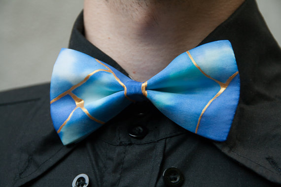 Light Blue Gold handpainted silk bow tie Pre-tied geekery bowtie Gifts for men