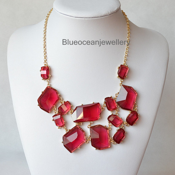 Transparent Red Jelly Necklace, Bubble Necklace,Bib Necklace, Statement Necklace,Wedding Jewelry
