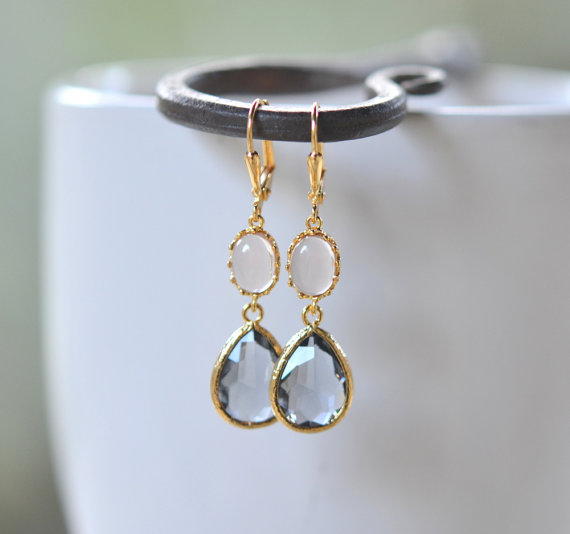 Charcoal Teardrop Champagne Jewel Drop Earrings