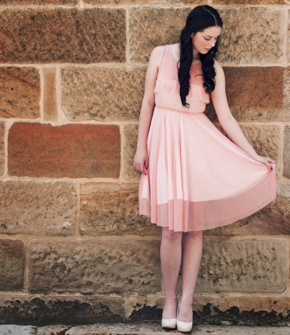Peach dress/ Bridesmaid chiffon dress/ Chiffon dress ON SALE/ Bridesmaid dress/ Cocktail summer dress/ Bridesmaid dress