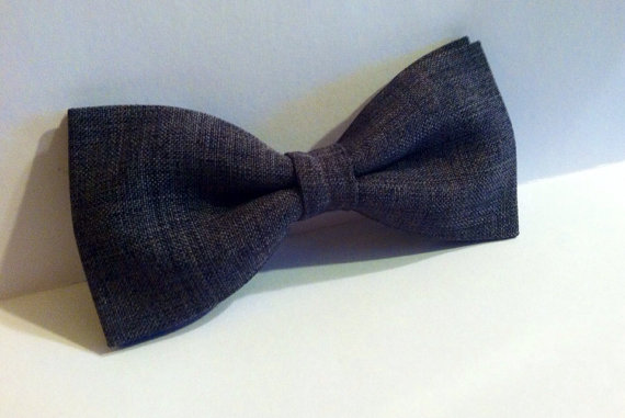 Mens/boys charcoal gray pre-ties bow ti