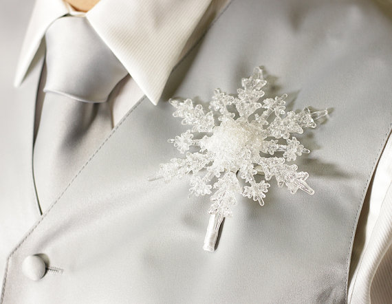 Boutonniere – Winter Snowflake – Button Hole – Wedding Accessory for Groom, Groomsmen, and Prom