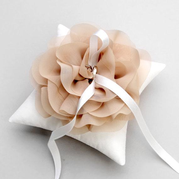 Wedding ring pillow, bridal ring pillow, flower ring pillow