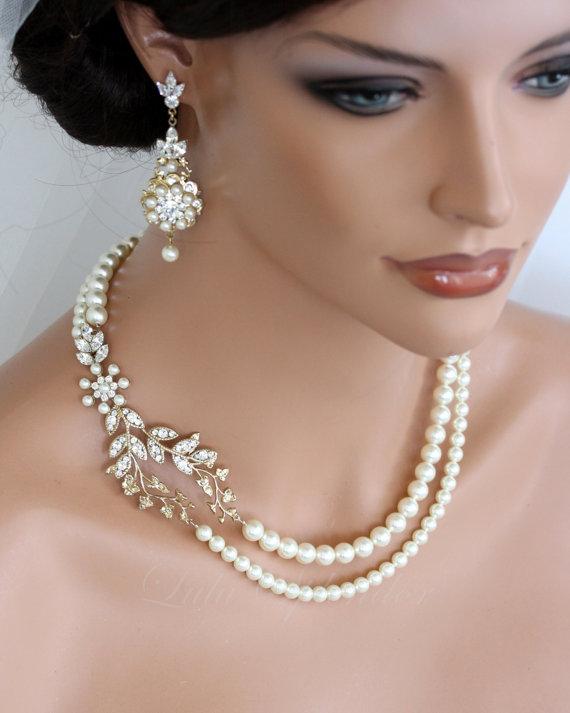 Wedding Pearl Necklace Vine Leaf Gold Bridal Necklace Swarovski Ivory White Pearl Art Deco Wedding Jewelry