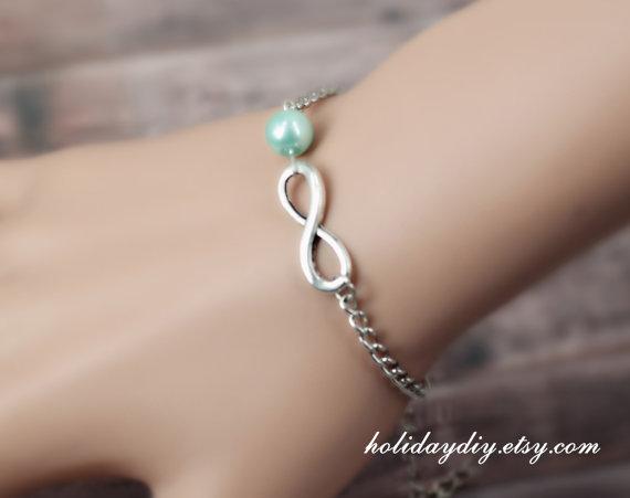 Bridesmaid gifts, Infinity bracelet, Imitation pearl bracelet
