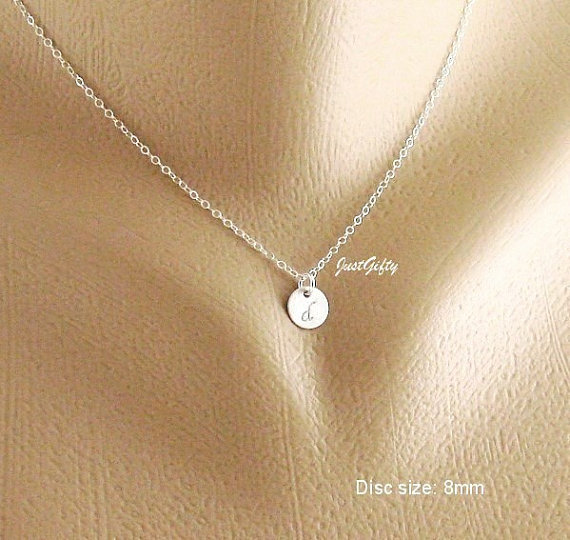Tiny Silver charm Necklace, Custom Monogram Jewelry, STERLING SILVER Tiny Initial necklace