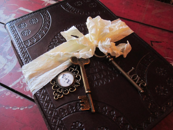 Photo Booth Leather Vintage Styled Wedding Guest Book Customize Steampunk