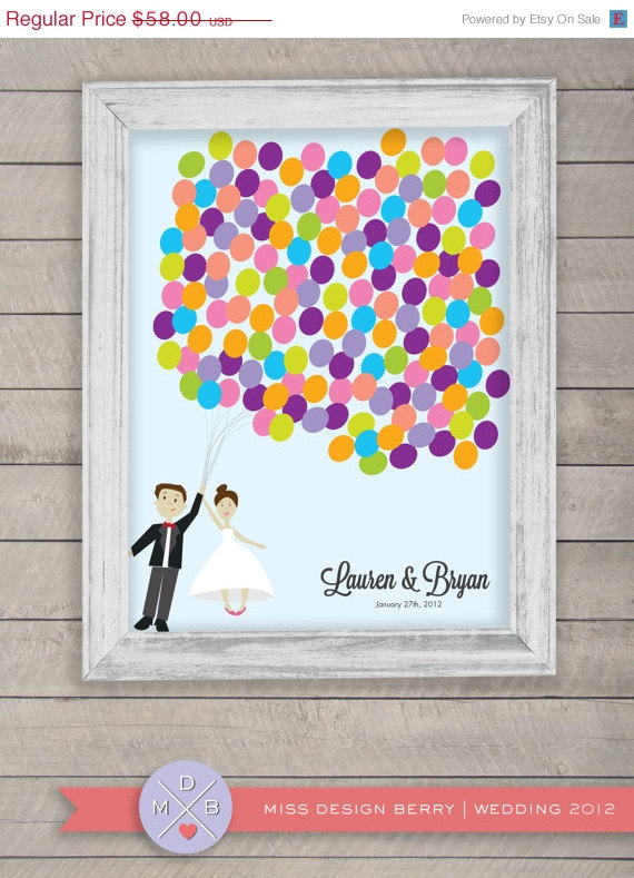wedding guest book alternative – customized couple to look like you Disney UP theme