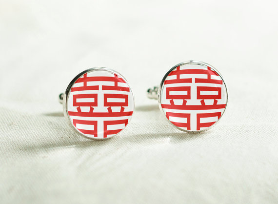 Wedding Cuff links – Double Happniess Cufflinks – Chinese Wedding Cufflinks – Wedding in Chinese cuff links