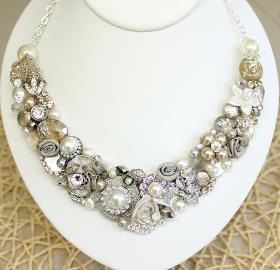 Champagne Bridal Necklace- Champagne Bridal Jewelry- Vintage Bridal Accessories-Bridal Statement Necklace -Champagne Wedding Jewelry