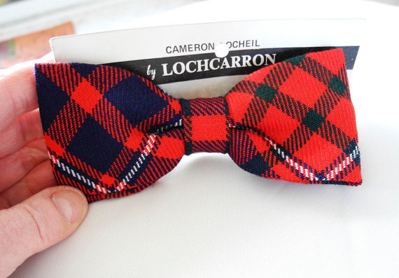 Vintage tartan bow tie Lochcarron Scottish red blue green clip on tie
