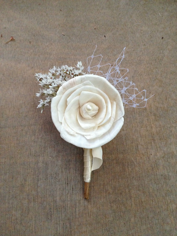 Soft White Wildflower Wedding Corsage / Boutonniere
