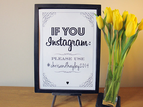 Instagram Wedding Sign – vintage / rustic style
