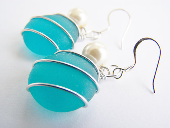 Seaglass Bridesmaids sets – Tahitian Teal Earrings – Glass Pearl