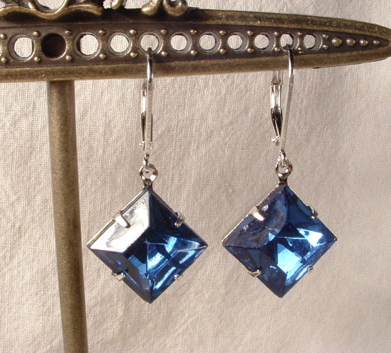 Vintage Art Deco Sapphire Blue Crystal Rhinestone Silver Plated Bridesmaids Dangle Earrings Bridesmaids