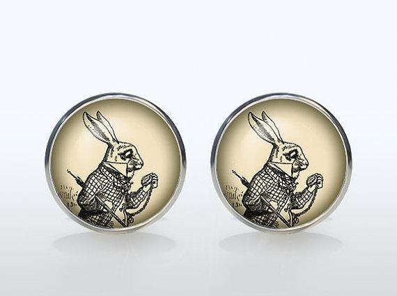 White Rabbit cufflinks Silver plated Alice in wonderland vintage cuff links