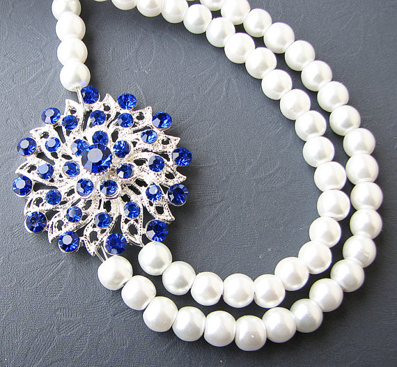 Bridal Jewelry Sapphire Blue Necklace Wedding Jewelry Pearl Bridal Necklace Double Strand Rhinestone Necklace