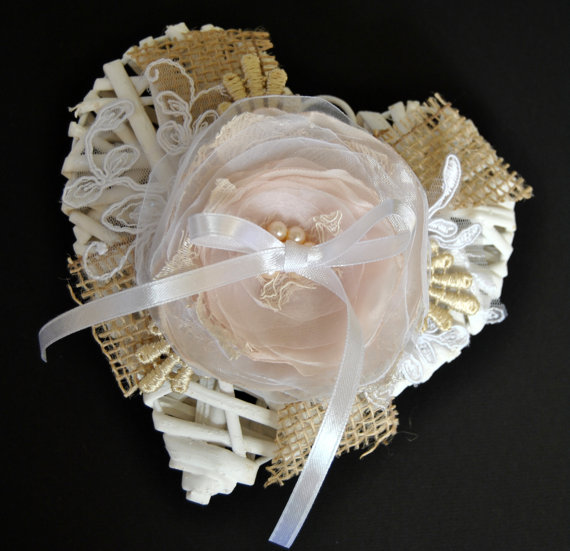 "Champagne Ring Bearer – with lace flower- wedding ring holder, wedding ring pillow ""Heart"", Rustic Burlap Ring Pillow"