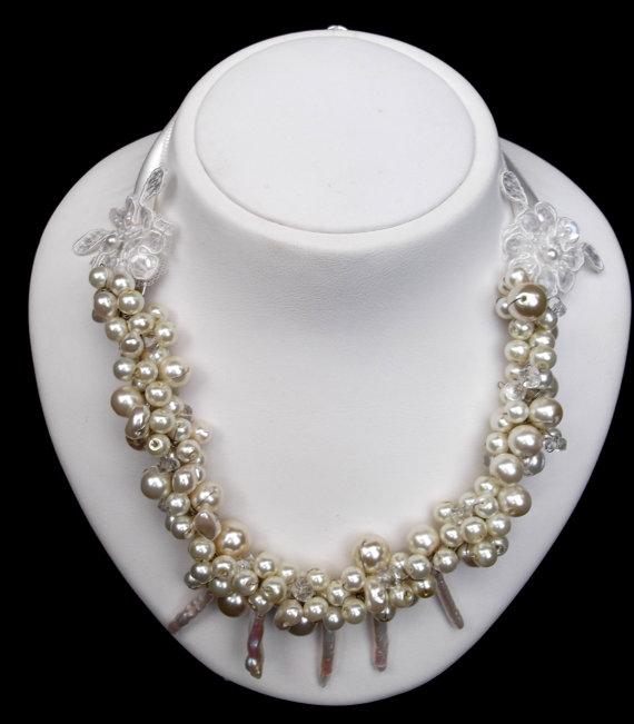 Wedding Pearl Necklace, Freshwater Pearl Necklace, Swarovski Pearls, Ivory, Wedding Jewelry, Bridal Jewelry