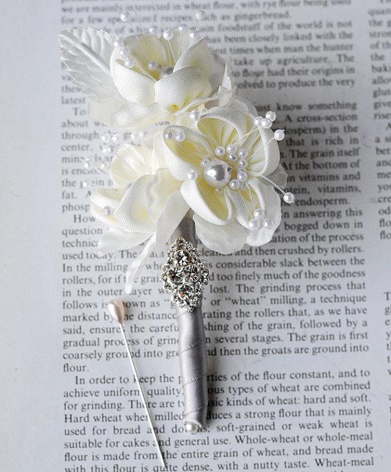 Rhinestone Boutonniere Chiffon Silk Rose Flower Crystal Pearl Corsages Silver Ivory Cream Grey
