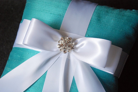 Wedding Ring Pillow – Tiffany Blue Ring Bearer Pillow with White Bow and Rhinestones