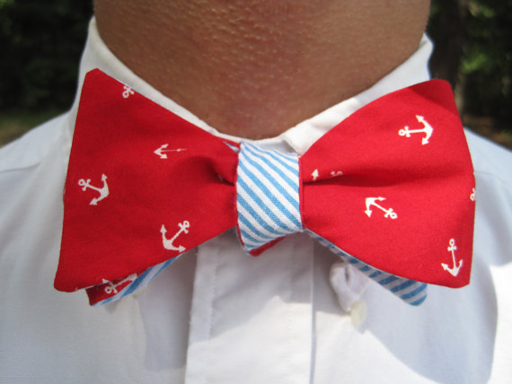Double Sided Red Anchor & Blue Seersucker Bow Tie-Ben's Summer Collection