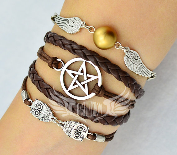 Bracelet, Angel Wings, Wing, Owls, Pagan and Wiccan, Dean Winchester, Supernatural, Star Bracelet