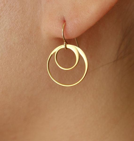 Circles Drop Earrings in Gold Vermeil and Gold Filled, drop, hoop earrings,