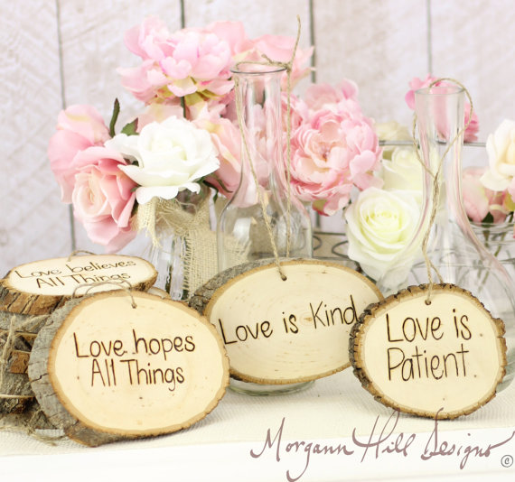 Rustic Tree Slice Wedding Signs Love Is Patient Love Is Kind